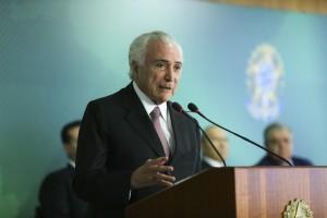 O presidente Michel Temer discursa na cerimônia de sanção da Lei Geral de Proteção de Dados, no Palácio do Planalto. Créditos:  Valter Campanato/Agência Brasil